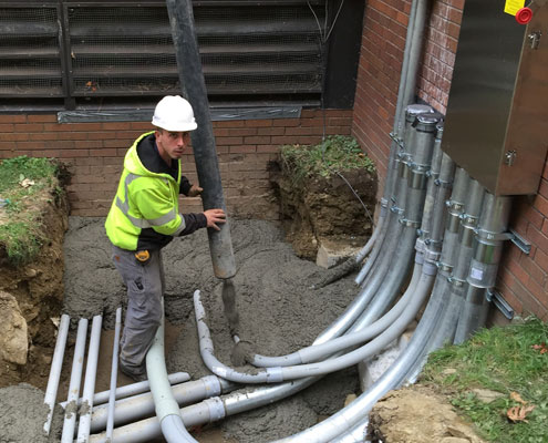 commercial electrician working for systems electrical services